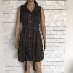 Steampunk Cinched Waist Dress with Pockets